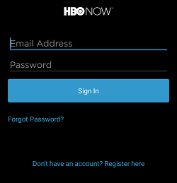 Sign in to your HBO Now account using the sign in screen