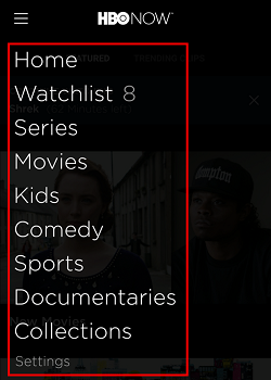 In the menu, click on any of the options to narrow down your search for content