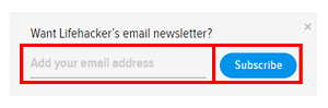 Type your email to subscribe to the Lifehacker newsletter.