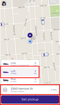 Set your pickup location on Lyft