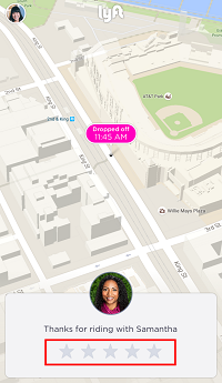 Choose a rating for your Lyft drievr