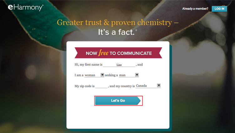 The sign-up screen for eHarmony