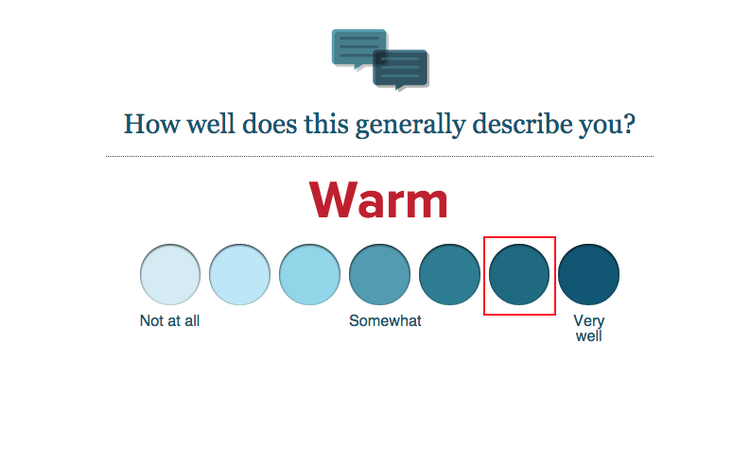 Answering a question from the eHarmony questionnaire