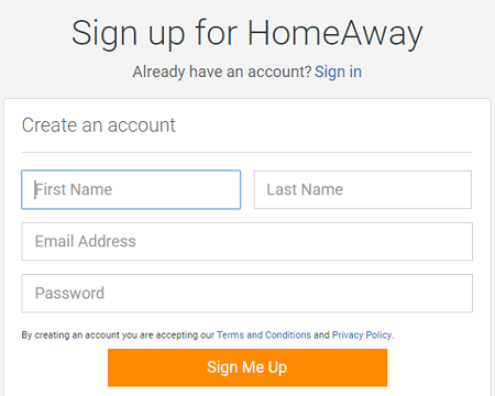 Sign up for a free Homeaway account