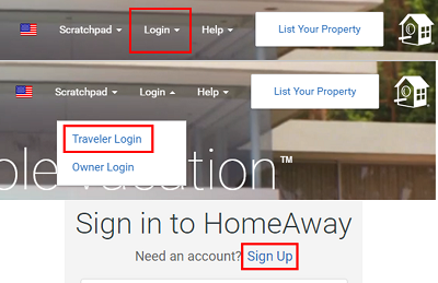 Sign up for Homeaway