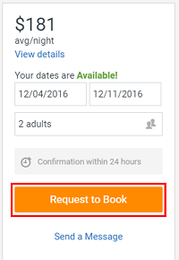 Click the orange Request button to request a reservation at a property