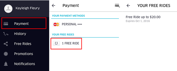 View your free rides by tapping Payment in the Uber app