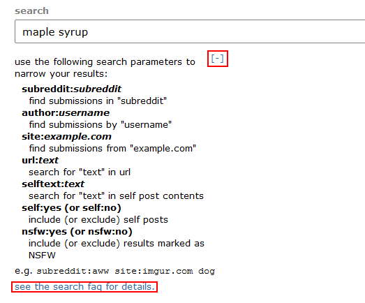 Searching Reddit using advanced search parameters