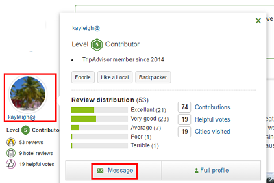 Send messages to other TripAdvisor users to learn even more information about places you are interested in