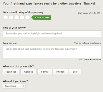 Add reviews of your own stays at properties to help other TripAdvisor travelers