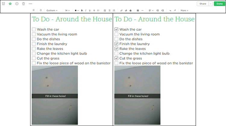 Use the Evernote editor to add advances features to your notes