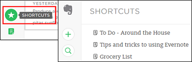 Create shortbuts to your most frequently-used notes
