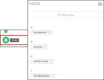 Add tags to your notes to find them easily in the future