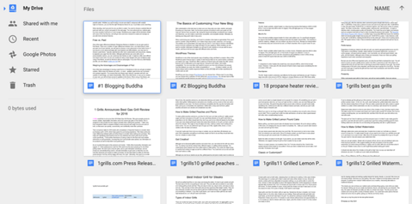 View of Google Docs and Google Drive