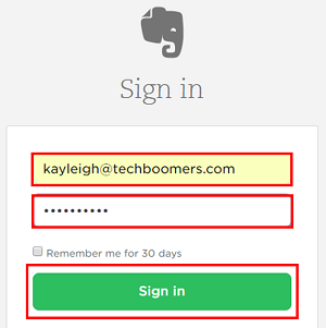 You must sign in to your Evernote account to delete it