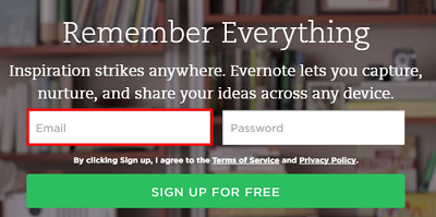 Choose the email you would like to use for Evernote