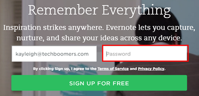 Select a password to protect your Evernote account