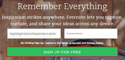 Click the Sign up button to begin using Evernote
