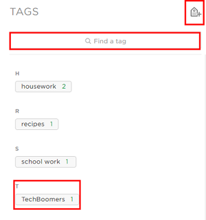 Click on tags to see your notes with those keywords