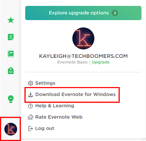 Download the desktop version of Evernote