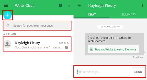 Start new chats or continue ongoing conversations in the Work Chat