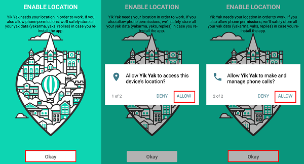 Enable location services and give Yik Yak permission to allow Yik Yak to work properly
