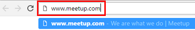 Enter www.meetup.com into your browser of choice