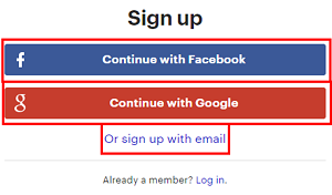 Choose to sign up with Facebook, Google, or by email address