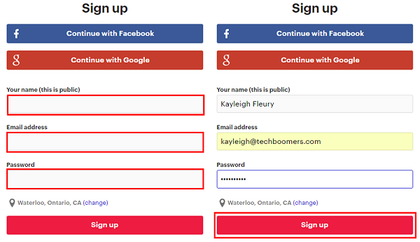 Enter your personal information and choose a password to protect your Meetup account