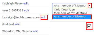 Click edit or drop-down menus to change your settings. Click check boxes to enable or disable settings.