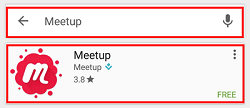 Search for Meetup and tap the first box that appears