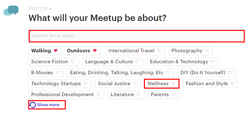 Click on categories and interests to indicate what your group will be related to