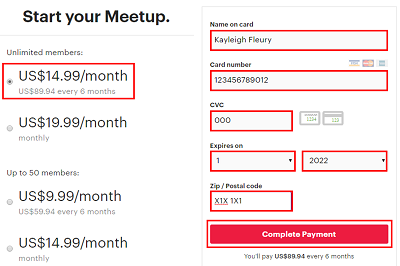 Choose a payment plan for your group and click Complete Payment to form your group