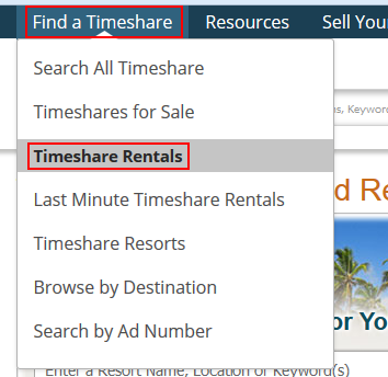 How to find timeshares for rent on SellMyTimeshareNow
