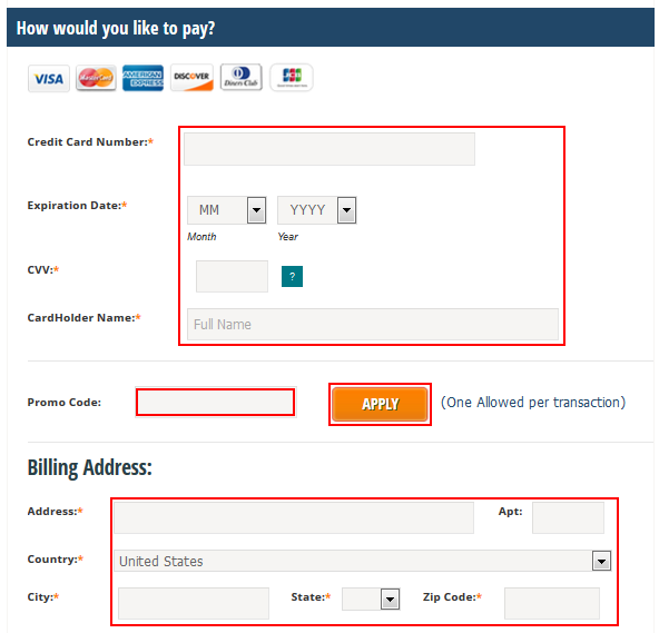 Entering your billing information for renting a timeshare