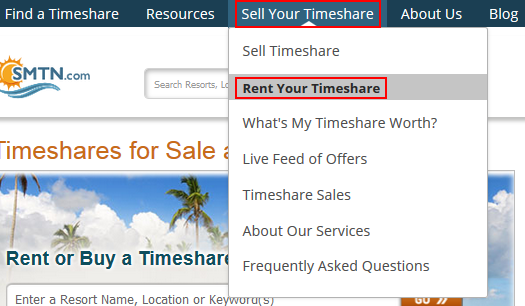 How to submit an inquiry into advertising your timeshare for rent on SellMyTimeshareNow