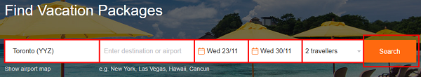 Enter your vacation search details.