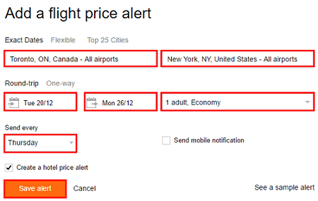 Enter the information you are interested in to add a flight or hotel alert.