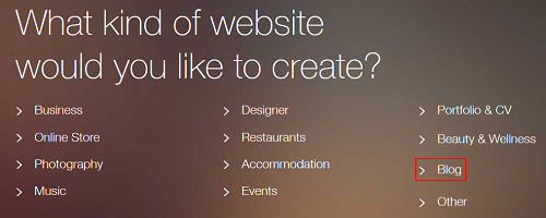 Select a template for your website.