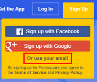 Choose to sign up with an email address, with Google, or with Facebook.