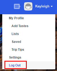 Click log out from the profile picture drop-down menu to sign out of your Foursquare account.