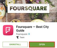 Wait for Foursquare to download, and then tap Open.