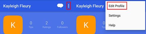 Tap menu and then Edit Profile to edit your Foursquare profile.