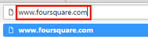 Visit Foursquare in your web browser.