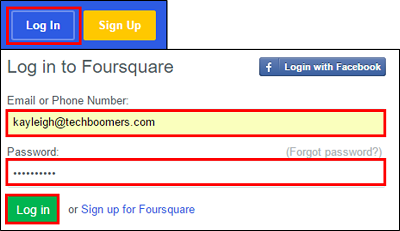 Log in to your Foursquare account.