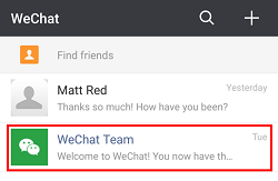Find WeChat conversation