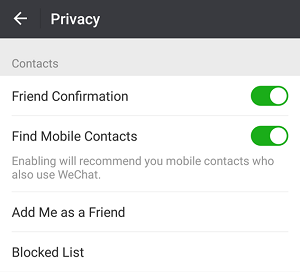 WeChat privacy settings
