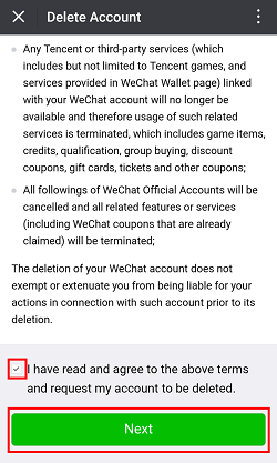 WeChat terms for deleting account