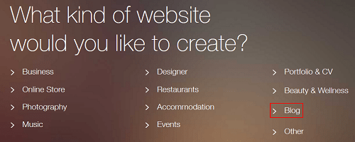 Select a template for your website