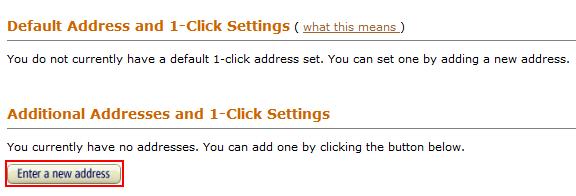 Amazon shipping address form